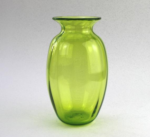 Flower Vase, Spring Celebration, Lime Green Glass Vase, Hand Blown Glass, Glass Art, Handmade by Marianne Degener