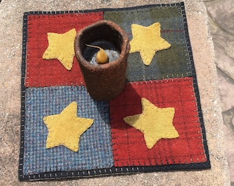 Star Four-Square Candle Mat
