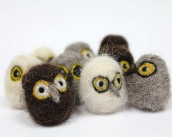 Teeny owl chick, needle felted