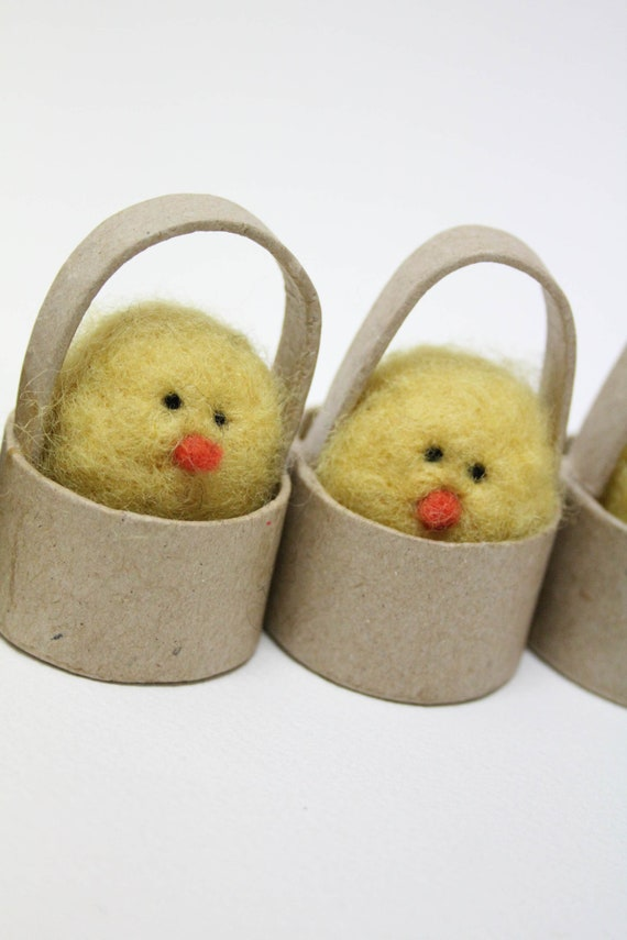 Needle felted Chick in a basket