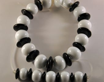 Black and white hollow lampwork Beads