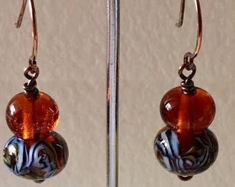 Amber and tiger theme drop lampwork beads