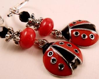 Ladybug Earrings Enamel Earrings Silver Earrings Ladybug Jewelry Red Jewelry Enamel Jewelry Beaded Earrings Beaded Jewelry Jewelry