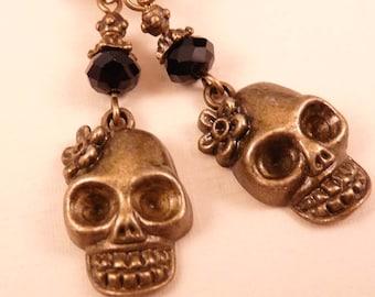 Skull Earrings Brass Earrings Skull Jewelry Brass Jewelry Beaded Jewelry Beaded Earrings