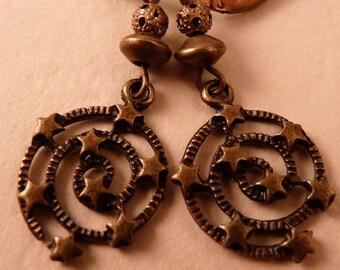 Star Earrings Brass Earrings Star Jewelry Brass Jewelry Beaded Jewelry Beaded Earrings Celestial Earrings Celestial Jewelry Swirl Earrings