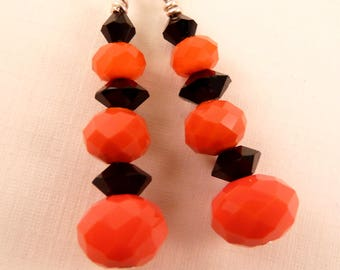 Halloween Earrings Halloween Jewelry Crystal Earrings Beaded Earrings Beaded Jewelry Orange Earrings  Holiday Jewelry Silver Jewelry