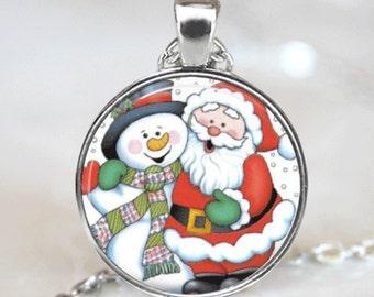 Christmas Necklace Christmas Jewelry Glass Tile Necklace Snowman Jewelry Snowman Necklace Glass Tile Jewelry Santa Jewelry Holiday Jewelry