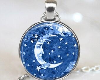 Glass Tile Necklace Celestial Necklace Blue Jewelry Glass Tile Jewelry Moon Jewelry Celestial Jewelry Silver Jewelry Black Jewelry Blue Moon