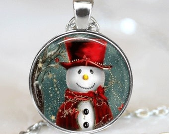 Christmas Necklace Christmas Jewelry Glass Tile Necklace Snowman Jewelry Snowman Necklace Glass Tile Jewelry Silver Jewelry Black Jewelry