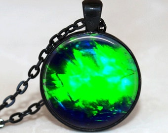 GlassTile Necklace Glass Tile Jewelry Gemstone Image Black Necklace Black Jewelry Blue Necklace Blue Jewelry Silver Necklace Silver Jewelry