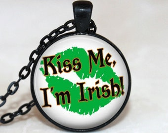 St. Patrick's Day Necklace Glass Tile Necklace  Glass Tile Jewelry Irish Holiday Jewelry Glass Tile Jewelry Black Jewelry
