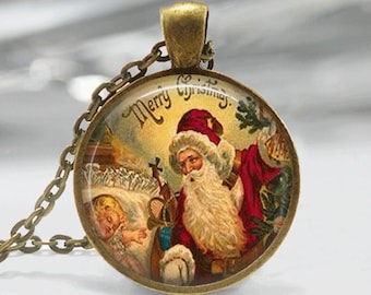 Christmas Necklace Christmas Jewelry Santa Necklace Glass Tile Necklace Glass Tile Jewelry Holiday Necklace Holiday Jewelry Vintage Santa
