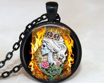 Sugar Skull Necklace Glass Tile Necklace Day of the Dead Necklace Glass Tile Jewelry Sugar Skull Jewelry