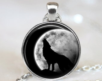 Glass Tile Necklace Wolf Necklace Silver Jewelry Silver Necklace Glass Tile Jewelry Moon Jewelry Animal Jewelry Wolf Jewelry Black Jewelry