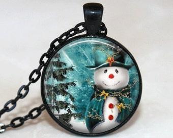 Christmas Necklace Christmas Jewelry Glass Tile Necklace Snowman Jewelry SnowmanNecklace Glass Tile Jewelry Silver Jewelry Black Jewelry