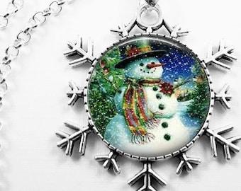 Christmas Necklace Christmas Jewelry Glass Tile Necklace Glass Tile Jewelry Snowman Necklace Snowman Jewelry Snowflake Holiday Jewelry