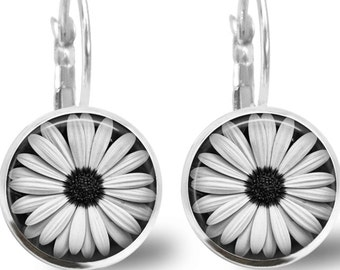 Daisy Earrings Tile Earrings Daisy Earrings Flower Jewelry Flower Earrings Tile Jewelry Black and White Silver Earrings Silver Jewelry