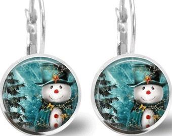 Christmas Earrings Christmas Jewelry Tile Earrings Snowman Earrings Tile Jewelry Holiday Jewelry Beaded Jewelry Snowman Jewelry