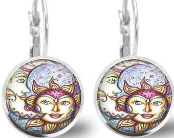 Sun and Moon Earrings Tile Earrings Celestial Jewelry Tile Jewelry Sun Earrings Moon Earrings Silver Sun Jewelry Moon Jewelry Silver Jewelry