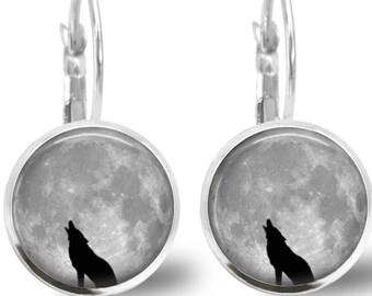 Tile Earrings Tile Jewelry Wolf Earrings Animal Jewelry Wolf Jewelry Beaded Jewelry Beaded Earring Moon Earrings Silver Jewelry Moon Jewelry