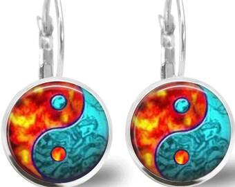 Tile Earrings Ying Yang Earrings Tile Jewelry Ying Yang Jewelry Glass Tile Jewelry Brass Earrings Beaded Jewelry Silver Jewelry Blue Jewelry