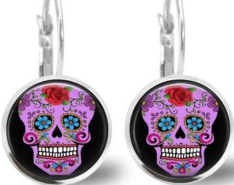 Sugar Skull Earrings Tile Earrings Purple Sugar Skull Jewelry Tile Jewelry Day of the Dead Jewelry Silver Earrings Silver Jewelry