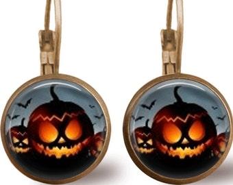 Halloween Earrings Tile Earrings Pumpkin Earrings Bat Earrings Halloween Jewelry Holiday Jewelry Beaded Jewelry Pumpkin Jewelry