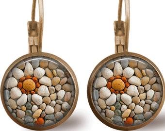 Zen Stones Earrings Tile Earrings Silver Jewelry Zen Stones Jewelry Beaded Jewelry Flower Earrings Flower Jewelry Silver Earrings