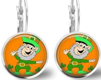 St Patrick's Day Earrings Leprechaun Tile Earrings Tile Jewelry St Patricks Day Holiday Earrings Holiday Jewelry Green Jewelry