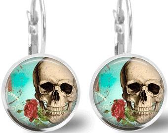 Skull Earrings Tile Jewelry  Skull Jewelry Day of the Dead Jewelry Beaded Earrings Beaded Jewelry Skull Jewelry Silver Jewelry