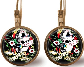 Sugar Skull Jewelry Tile Earrings Day of the Dead Sugar Skull Earrings Tile Jewelry Tattoo Art Brass Earrings Brass Jewelry Beaded Jewelry