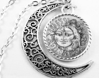 Glass Tile Necklace Sun and Moon Necklace Glass Tile Jewelry Celestial Jewelry Sun Jewelry Moon Jewelry Celestial Necklace