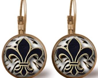 Fleur de Lis Earrings Tile Earrings Brass Earrings Brass Jewelry Tile Jewelry New Orleans Saints Jewelry Football Jewelry