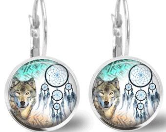 Tile Earrings Tile Jewelry Wolf Earrings Dreamcatcher Earrings Animal Jewelry Wolf Jewelry Dreamcatcher Jewelry Brass Jewelry Silver Jewelry