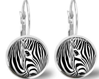 Tile Earrings Zebra Earrings Tile Jewelry Animal Jewelry Zebra Jewelry Beaded Earrings Beaded Jewelry Silver Earrings Silver Jewelry