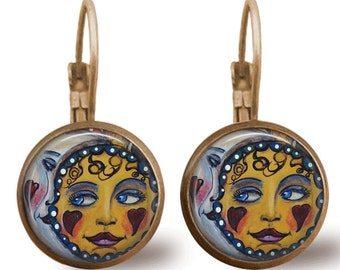 Tile Earrings Sun and Moon Earrings Celestial Jewelry Brass Earrings Beaded Jewelry Beaded Earrings Moon Jewelry Sun Jewelry Jade Jewelry