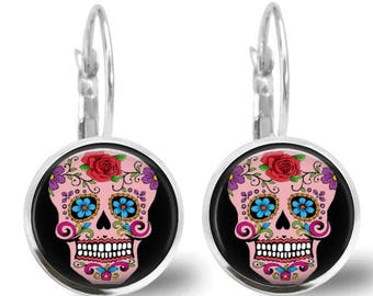 Sugar Skull Earrings Tile Earrings Tile Jewelry Day of the Dead Jewelry Sugar Skull Jewlery Beaded Jewelry Silver Earrings Silver Jewelry