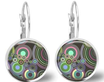 Tile Earrings Retro Earrings Retro Jewelry Brass Earrings Brass Jewelry Pink Earrings Pink JewelryTile Jewelry Silver Jewelry