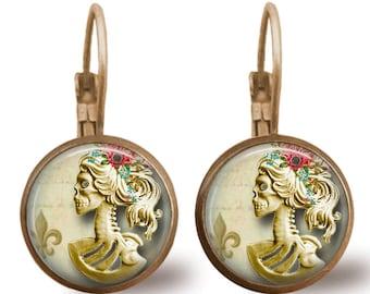Sugar Skull Earrings Tile Earrings Sugar Skull Jewelry Fleur de Lis Earrings Fleur de Lis Earrings Tile Jewelry Day of the Dead Jewelry