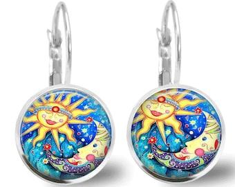 Sun and Moon Earrings Tile Earrings Celestial Jewelry Tile Jewelry Beaded Jewelry Beaded Earrings Sun Jewelry Moon Jewelry Silver Jewelry