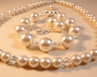 Pearl Necklace Crystal Necklace Pearl Jewelry Beaded Necklace Beaded Jewelry Crystal Jewelry
