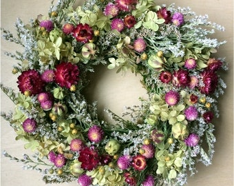 Dried FLOWER WREATH / Small Farmhouse Wreath, Rustic Rose Pink Summer Dried Flower Prim Colorful Wreath, Spring Dried Country Natural wreath
