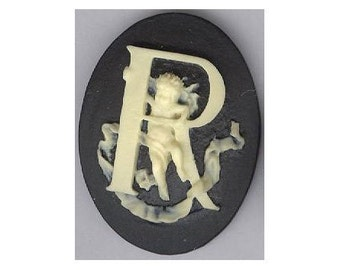 Cabochon Cameo Letter K Monogram Personalized Resin Initials 40x30mm Black