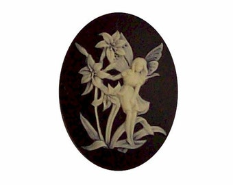 ~Vintage Cameo~30X40mm~Molded Button~The Huntress and Deer~Cream//Black~ />^..^/<