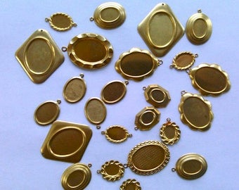 Cameo frames settings for cabochons 24pcs  brass bezels Made in USA diy Cab Mount Trays Bezel ( 25x18mm down to 8x6mm ) mixed media 953x