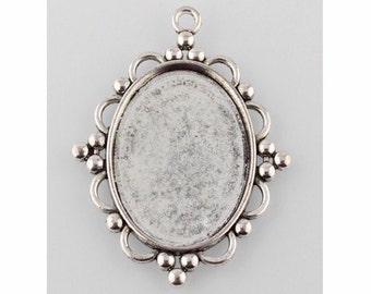 40x30mm Antique Silver Pendant Cabochon Setting bail Style Cameo pendant tray or frame diy gemstone necklace (we have dozen of styles)  942x
