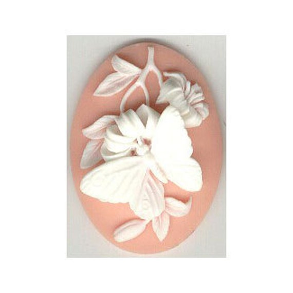 40x30mm Pink Flower Mirror Back Cabochon Cameo 303x