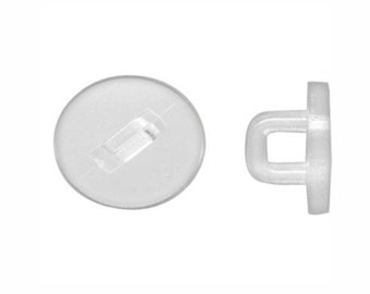 doz pack 10.5mm clear Plastic Button Shank acrylic Button Back blank button supply turn any flat back cabochon into a button just glue  888x