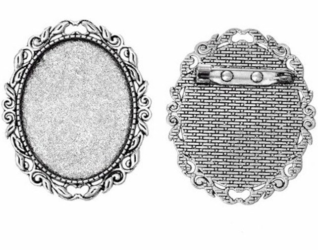 40x30mm cameo brooch setting Antique Silver Filigree Brooch   Etsy