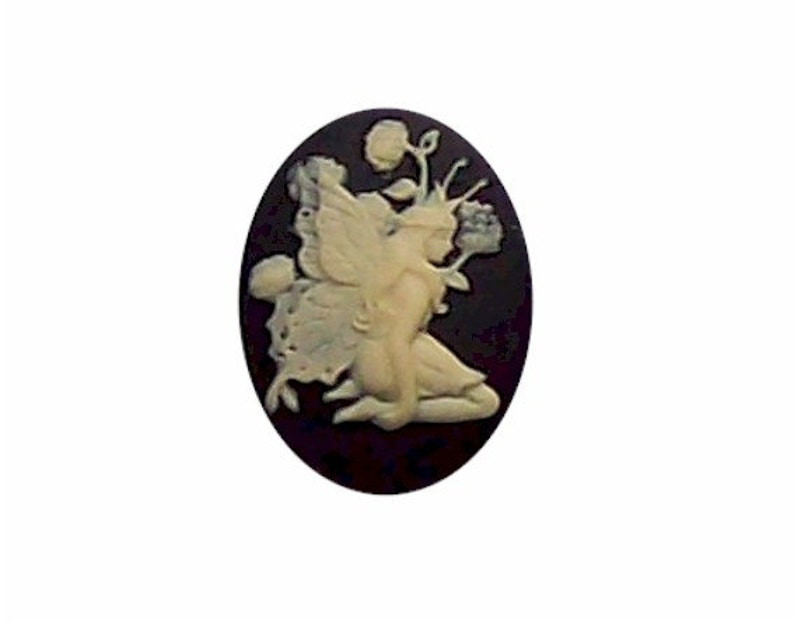 1pc 25x18 fairy cameo nymph cameo resin cameo  Black cameo Fairy cabochon 25x18mm loose unset stone fantasy embellishment or bauble 268x